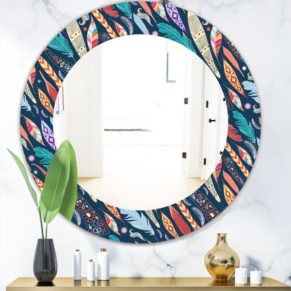 Designart 'Feathers 20' Modern Mirror - Oval or Round Wall Mirror - Blue
