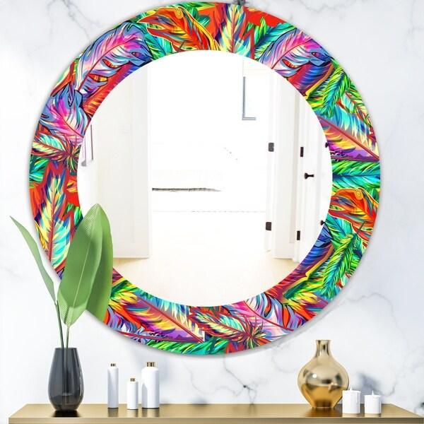 Designart 'Tropical Mood Bright 5' Modern Mirror - Oval or Round Wall Mirror - Red