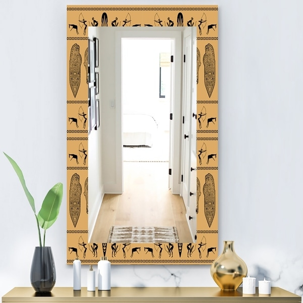 Designart 'African Decorative Pattern' Bohemian and Eclectic Mirror - Wall Mirror - Orange