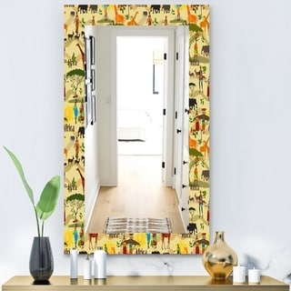 Designart 'Ethnic African Texture' Bohemian and Eclectic Mirror - Vanity Mirror - Gold