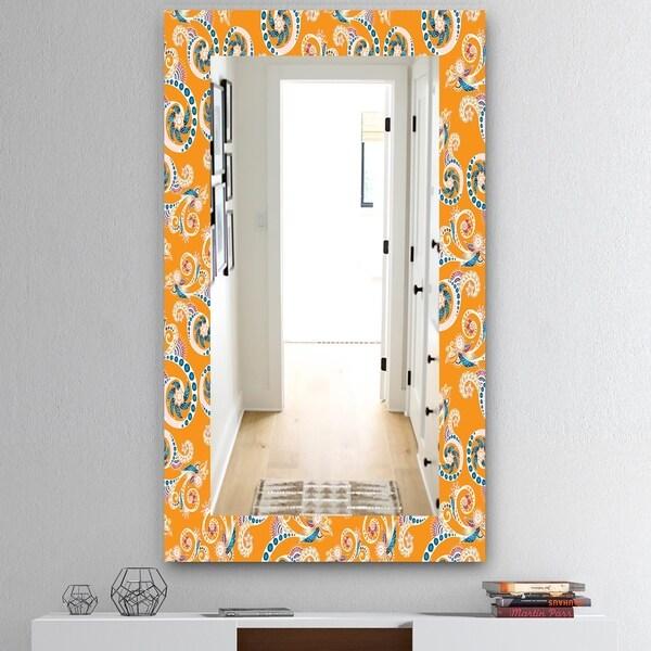 Designart 'Ornamental Floral Pattern With Flowers' Mid-Century Mirror - Vanity Mirror - Orange