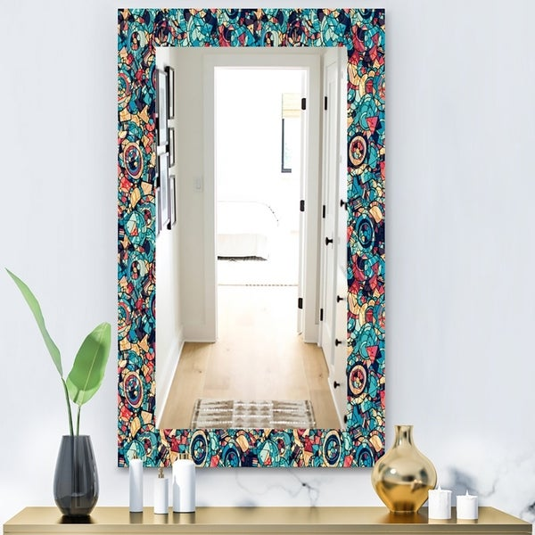 Designart 'Geometric Hand Drawn' Modern Mirror - Wall Mirror - Blue