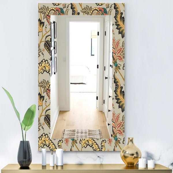 Designart 'Vintage Indian Floral Pattern' Bohemian and Eclectic Mirror - Vanity Mirror - Green