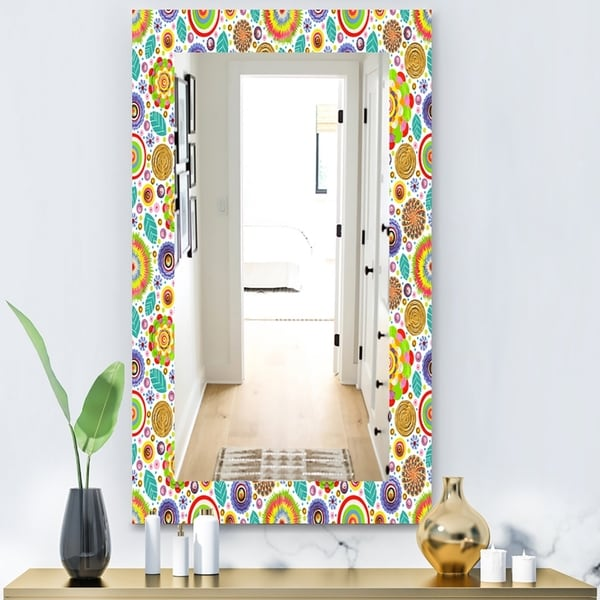 Designart 'Fashionable Flowers Pattern' Bohemian and Eclectic Mirror - Vanity Mirror - Gold