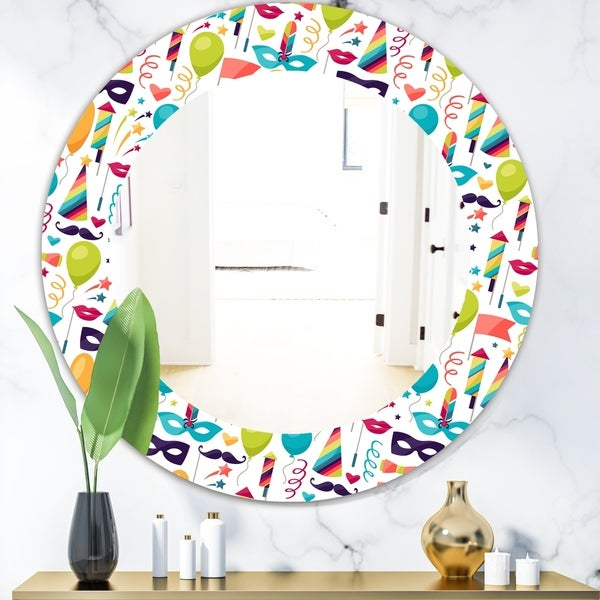 Designart 'Celebration Pattern With Carnival Icons & Objects' Modern Mirror - Contemporary Oval or Round Wall Mirror - White