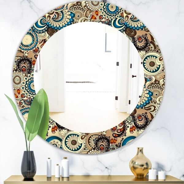 Designart 'Paisley 10' Mid-Century Mirror - Oval or Round Wall Mirror - Brown