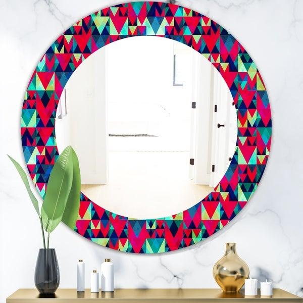 Designart 'Triangular Colourfields 12' Modern Mirror - Oval or Round Wall Mirror - Red