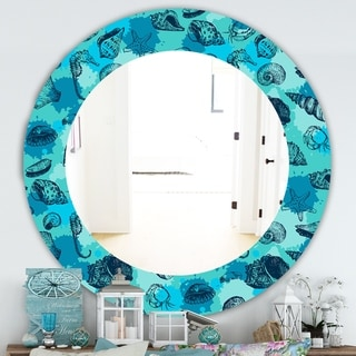 Designart 'Costal Creatures 10' Traditional Mirror - Oval or Round Wall Mirror - Blue