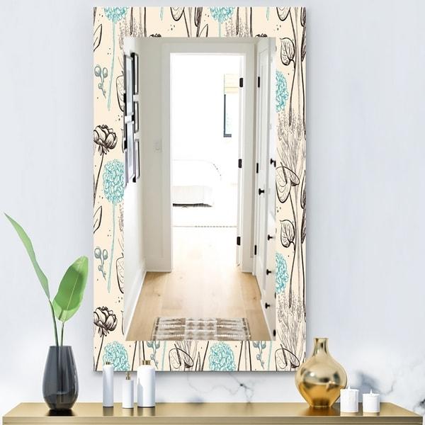 Designart 'Vintage Flower Pattern' Bohemian and Eclectic Mirror - Modern Wall Mirror - Multi