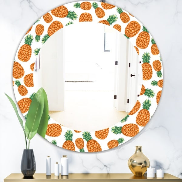 Designart 'Tropical Mood Pineapple 3' Bohemian and Eclectic Mirror - Oval or Round Wall Mirror - Orange