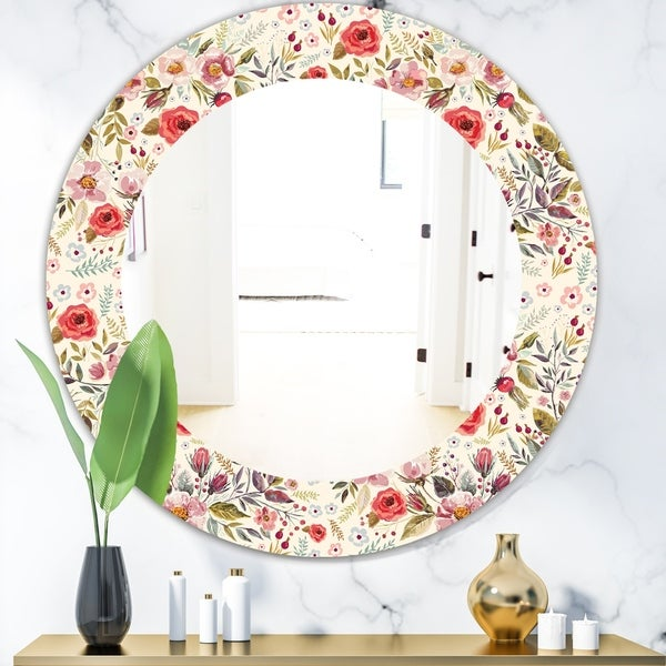 Designart 'Vintage Red Pink Flower and Leaves' Bohemian and Eclectic Mirror - Oval or Round Wall Mirror