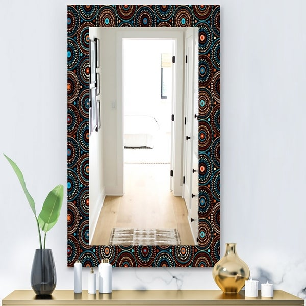 Designart 'Obsidian Impressions 4' Bohemian and Eclectic Mirror - Modern Wall Mirror - Black