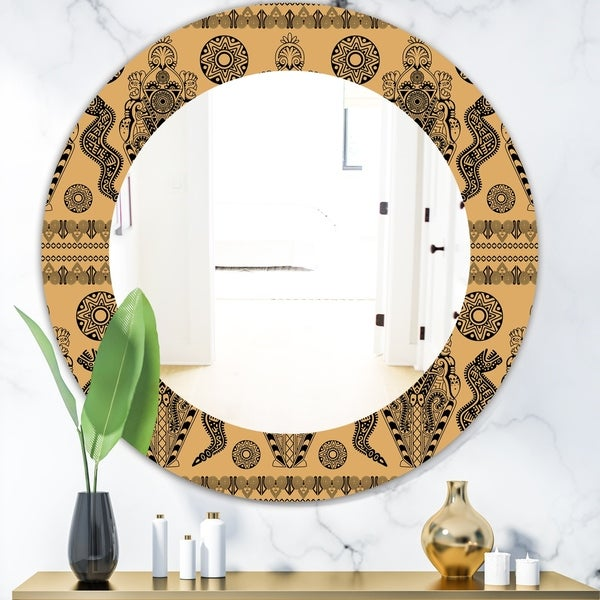 Designart 'Ethnic African Decorative Pattern' Bohemian and Eclectic Mirror - Oval or Round Wall Mirror - Orange