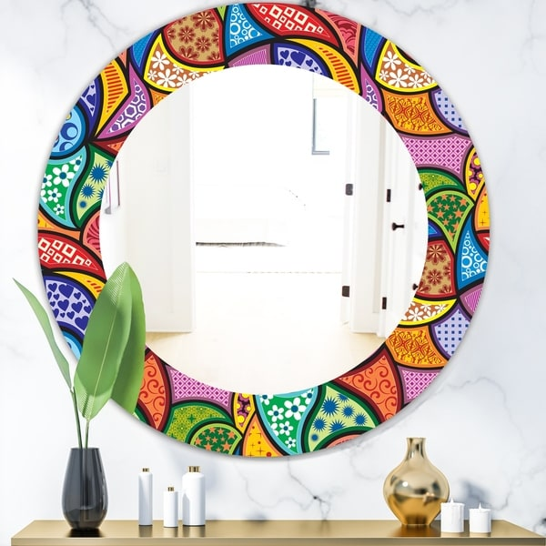 Designart 'Abstract Colorful Pattern' Bohemian & Eclectic Mirror - Oval or Round Wall Mirror - Blue