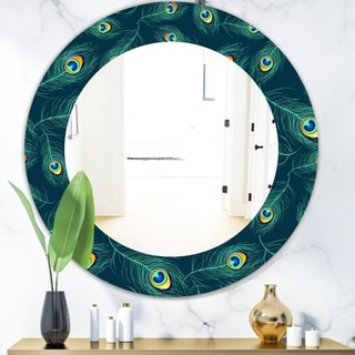 Designart 'Pattern Of Peacock Feathers' Modern Mirror - Oval or Round Wall Mirror - Blue