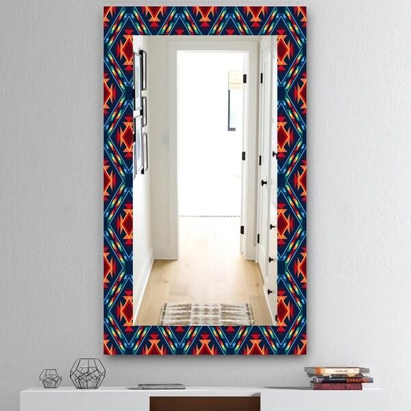 Designart 'Tribal Abstract Pattern' Mid-Century Mirror - Vanity Mirror - Blue