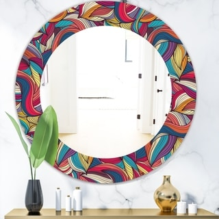 Designart 'Colorful Wave Hand' Bohemian and Eclectic Mirror - Oval or Round Wall Mirror - Blue