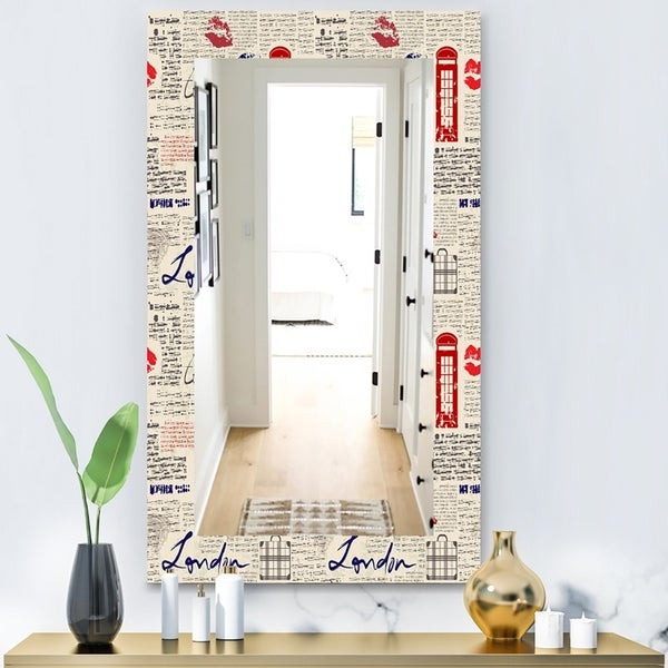 Designart 'Uk London Vintage Kiss Print' Modern Mirror - Wall Mirror - Red