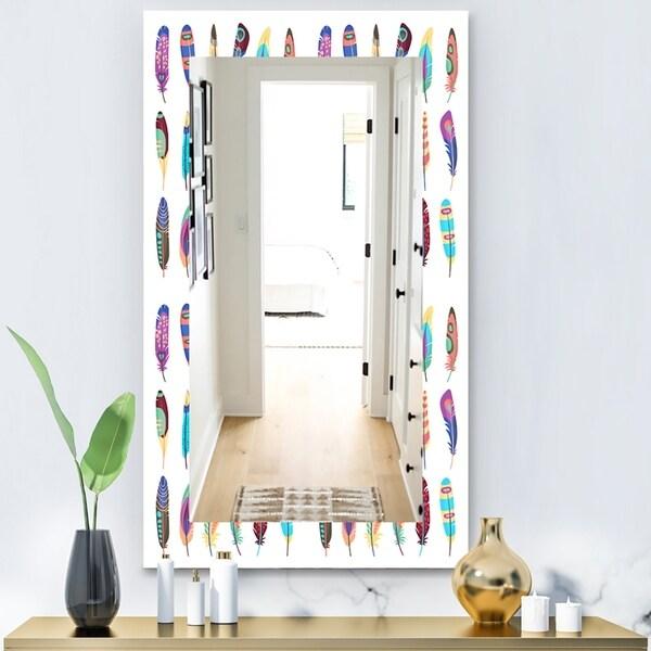 Designart 'Feathers 21' Modern Mirror - Wall Mirror - White