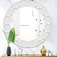 Designart 'Scandinavian 17' Mid-Century Mirror - Oval or Round Wall Mirror - White
