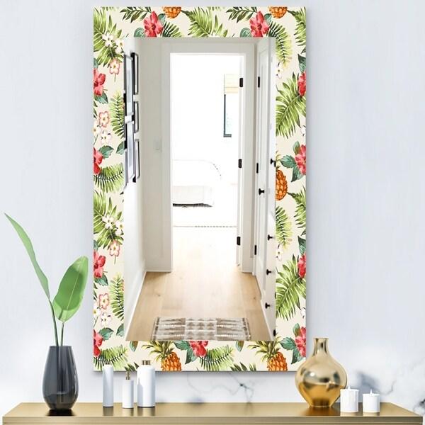 Designart 'Tropical Mood Foliage 16' Bohemian and Eclectic Mirror - Wall Mirror - Green