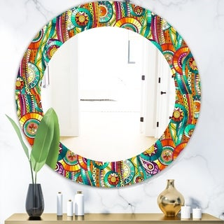 Designart 'Tribal Doddle Ethnic Pattern Mosaic Elements' Modern Mirror - Oval or Round Wall Mirror