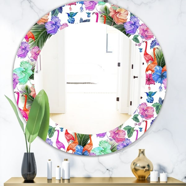 Designart 'Flamingo 2' Bohemian and Eclectic Mirror - Oval or Round Wall Mirror - Purple