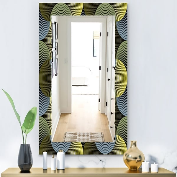 Designart 'Ornate Geometric Petals Grid' Modern Mirror - Wall Mirror - Green