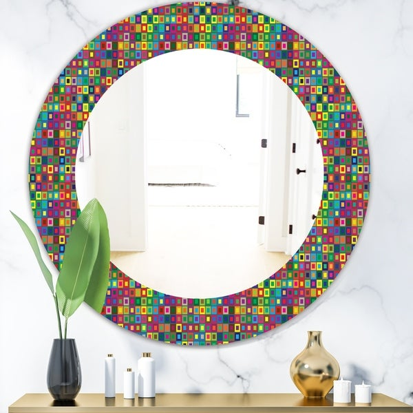 Designart 'Colors Squares Abstract Pattern' Modern Mirror - Oval or Round Wall Mirror - Gold