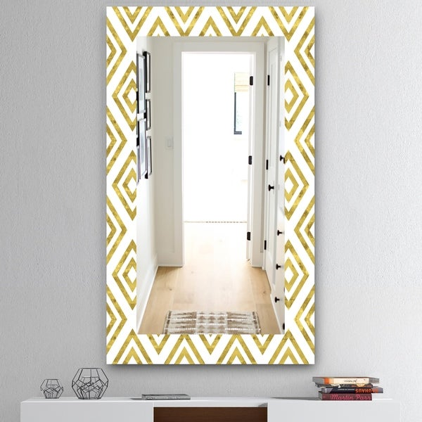 Designart 'Capital Gold Honeycomb 1' Mid-Century Mirror - Wall Mirror