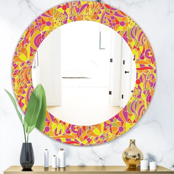 Designart 'Hand' Modern Mirror - Oval or Round Wall Mirror - Gold