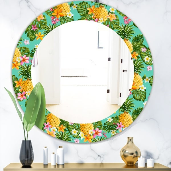 Designart 'Tropical Mood Pineapple 5' Bohemian and Eclectic Mirror - Oval or Round Wall Mirror - Blue