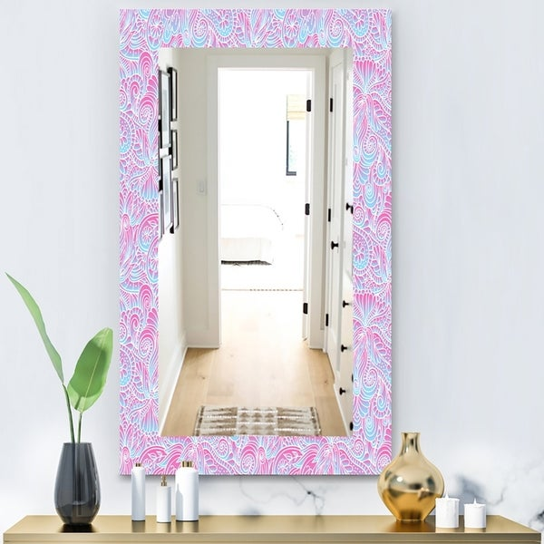 Designart 'Pink Spheres 7' Bohemian and Eclectic Mirror - Modern Wall Mirror - Blue