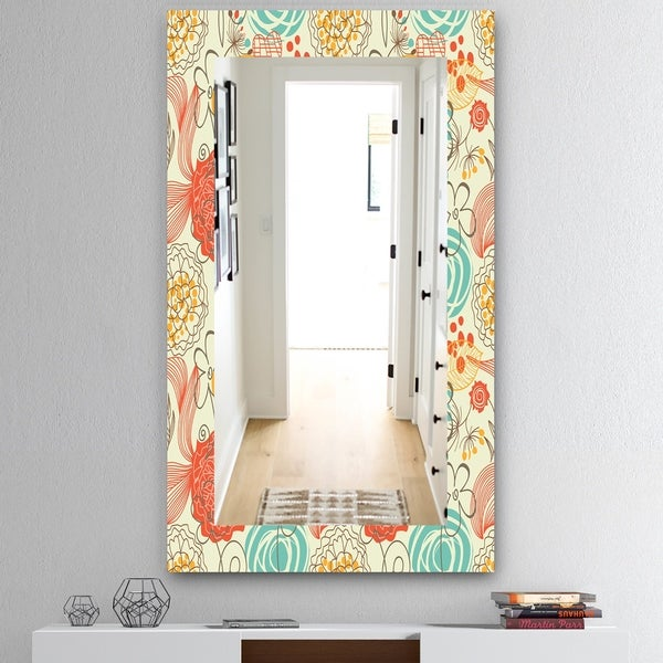 Designart 'Vintage Flowers 6' Mid-Century Mirror - Vanity Mirror - Red