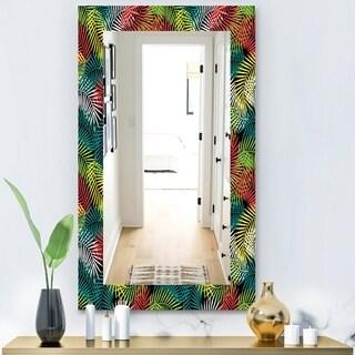 Designart 'Tropical Mood Gloomy 2' Bohemian and Eclectic Mirror - Vanity Mirror - Black