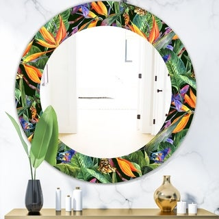 Designart 'Tropical Mood Gloomy 1' Bohemian and Eclectic Mirror - Oval or Round Wall Mirror - Green