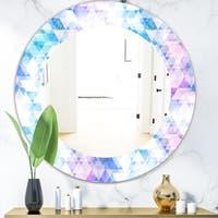 Designart 'Triangular Colourfields 10' Modern Mirror - Oval or Round Wall Mirror - Purple
