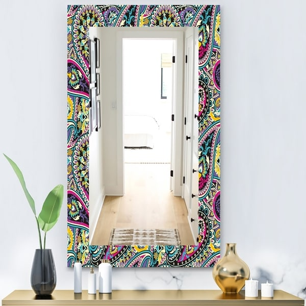 Designart 'Paisley 11' Bohemian and Eclectic Mirror - Wall Mirror - Blue