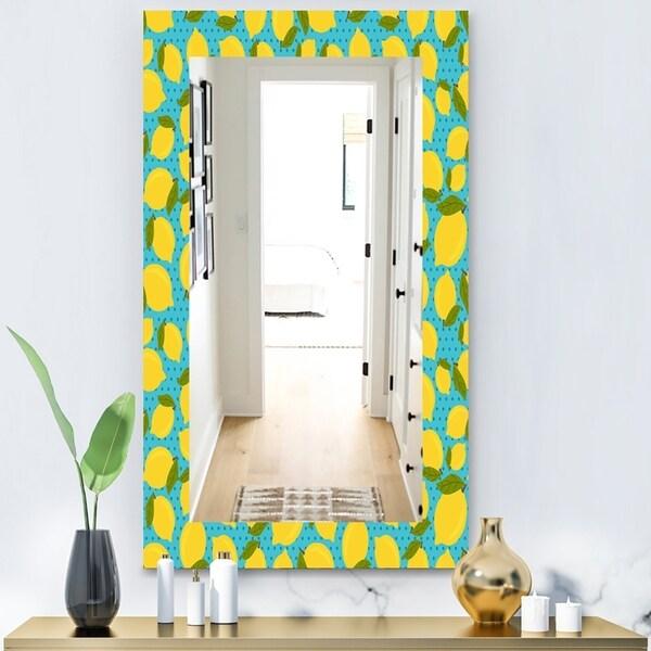 Designart 'Lemon Pattern' Bohemian and Eclectic Mirror - Vanity Mirror - Blue