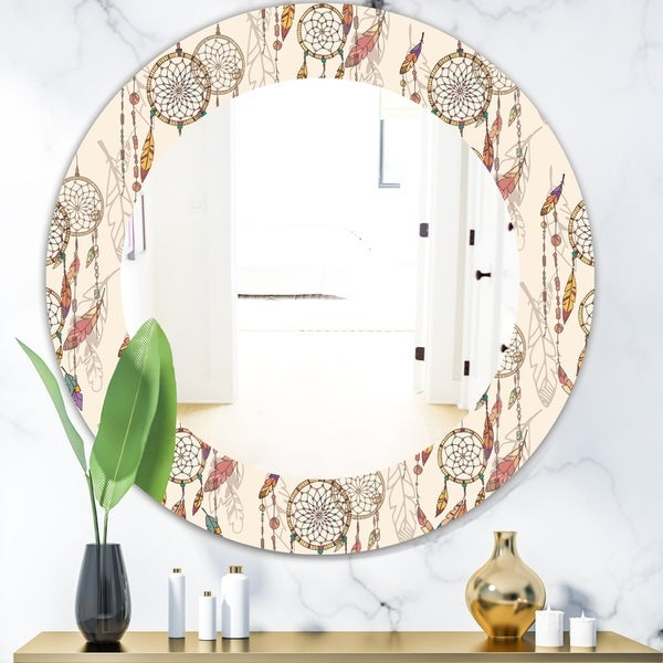 Designart 'Bohemian Dream Catcher With Beads & Feathers' Bohemian & Eclectic Mirror - Oval or Round Wall Mirror - Brown