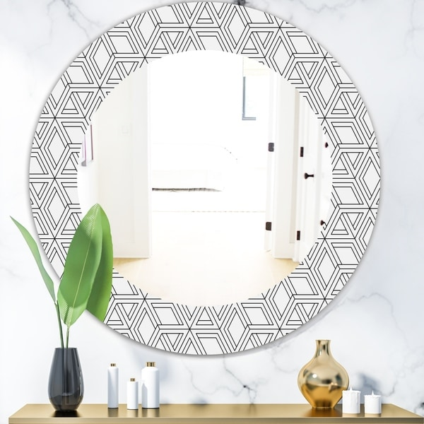 Designart 'Black & White 2' Mid-Century Modern Mirror - Oval or Round Wall Mirror