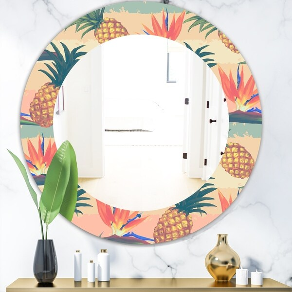 Designart 'Tropical Mood Pineapple 4' Bohemian and Eclectic Mirror - Oval or Round Wall Mirror - Orange