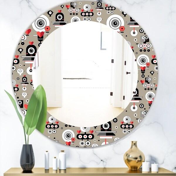 Designart 'Pattern Amusing Lovers Robots' Modern Mirror - Oval or Round Wall Mirror - Grey/Silver