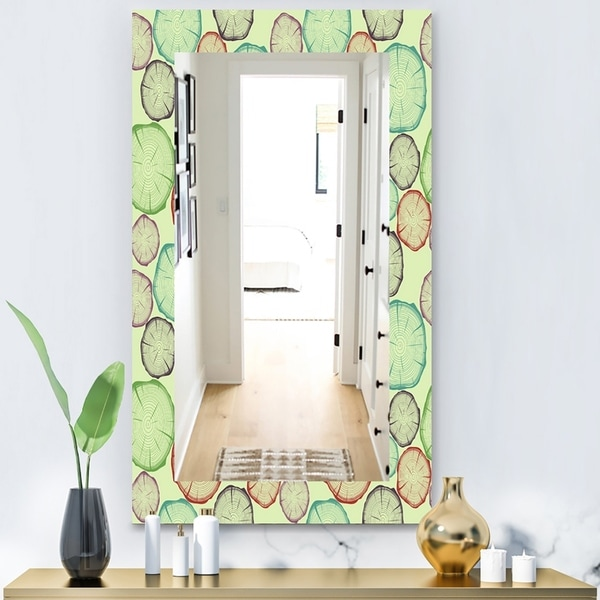 Designart 'Pattern With Tree Rings' Bohemian and Eclectic Mirror - Modern Wall Mirror - Green
