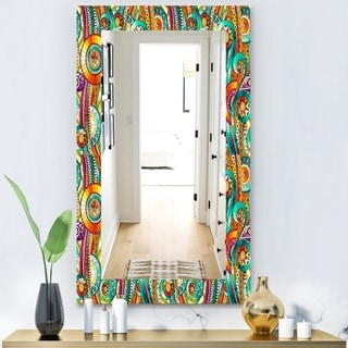 Designart 'Tribal Doddle Ethnic Pattern Mosaic Elements' Modern Mirror - Wall Mirror - Gold