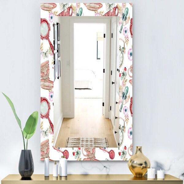 Designart 'Watercolor Tea Pattern' Modern Mirror - Wall Mirror - White