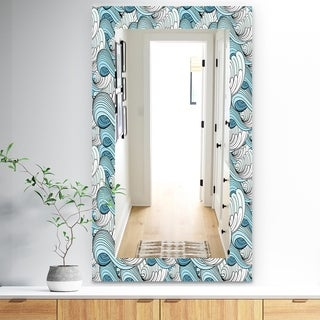 Designart 'Great Wave Inspiration' Traditional Mirror - Vanity Mirror - White