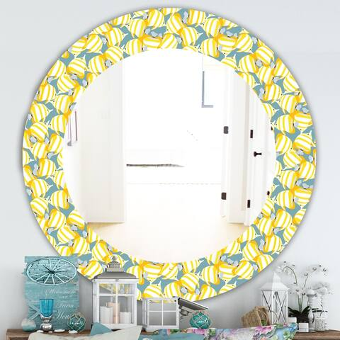 Designart 'Yellow Moods 21' Traditional Mirror - Oval or Round Wall Mirror - Gold