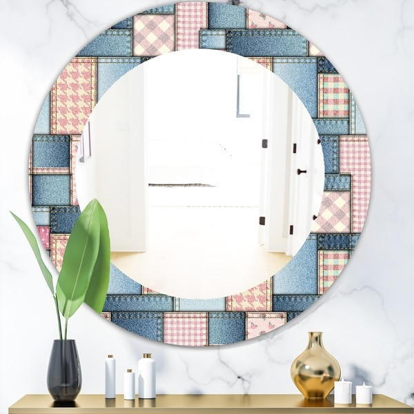 Designart 'Pink Patchwork Pattern' Mid-Century Mirror - Oval or Round Wall Mirror - Blue