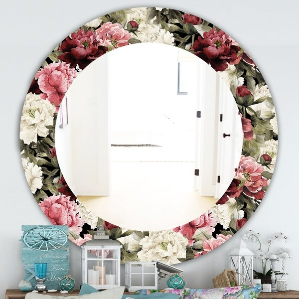 Designart 'Obsidian Bloom 13' Traditional Mirror - Oval or Round Wall Mirror